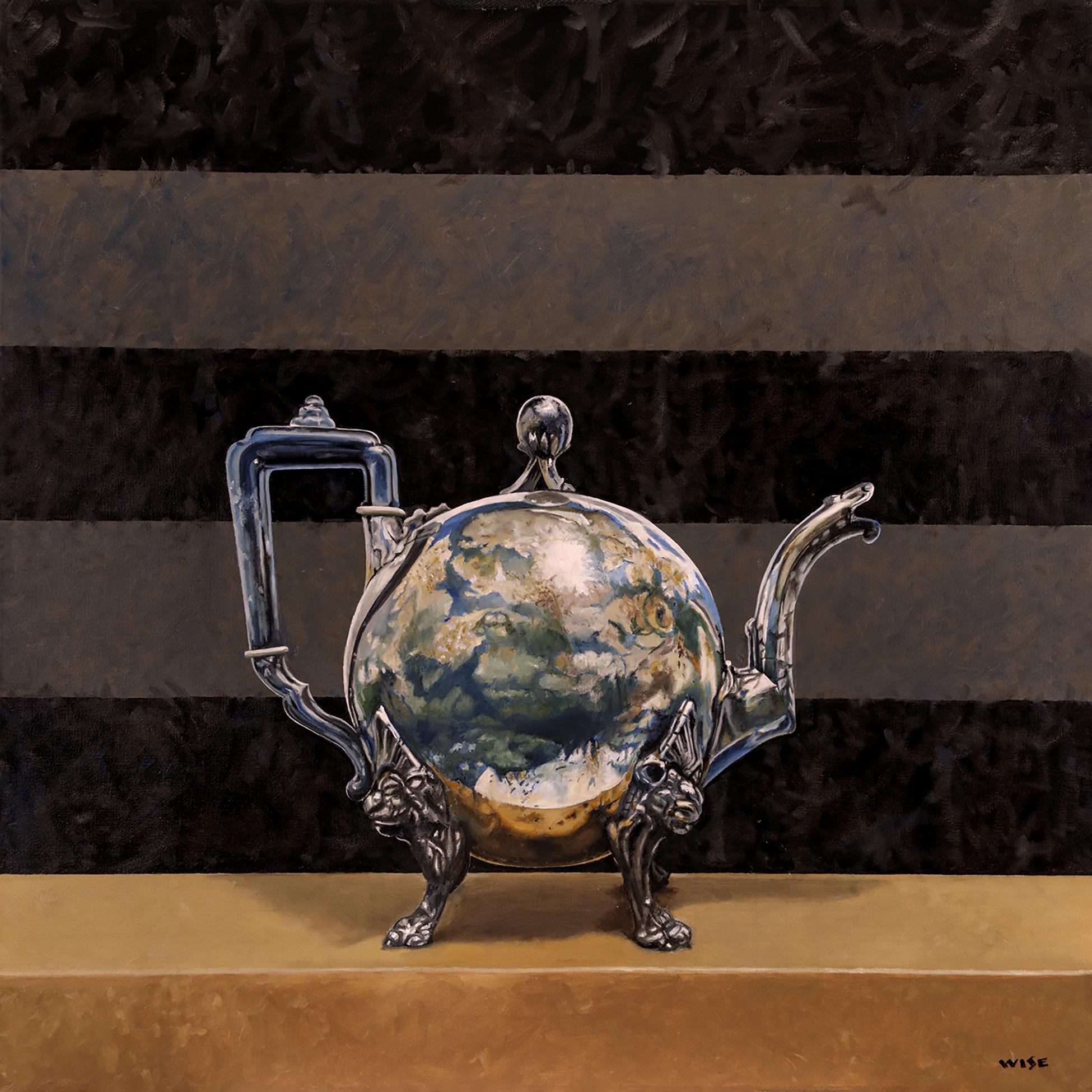 """""""Callisto"""" - surreal still life painting - tea pot - globe - Rene Magritte"""