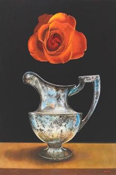 """Holy Week"" - Surrealist floral still life - silver pitcher - Rene Magritte"