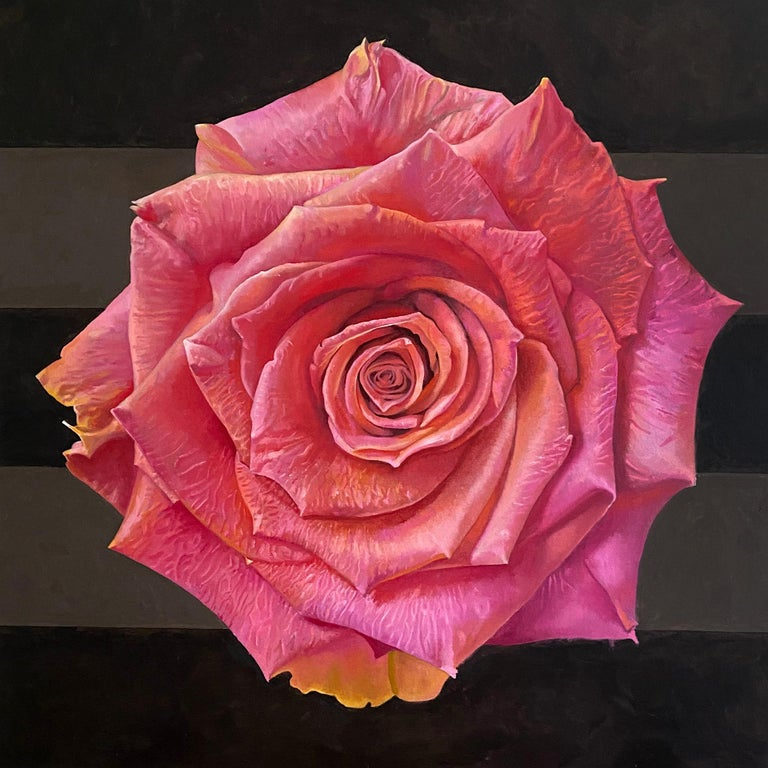 """Jim Wise Still-Life Painting - """"Pink Rose in Quarantine"""" - floral painting - realism - Rene Magritte"""