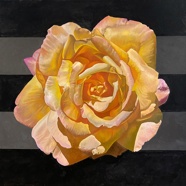"Jim Wise Still-Life Painting - ""Yellow Rose in Quarantine"" - floral painting - Georgia O'Keeffe"