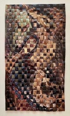 'Hair Weave Woobie (Lowlights)' - woven paper collage - Eva Hesse