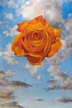 """Acolyte"" - surreal floral painting - clouds - Rene Magritte"