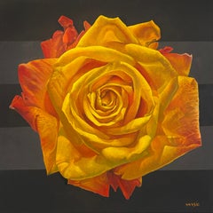 """Flame Rose I"" - floral painting - rose still life - Georgia O'Keeffe"