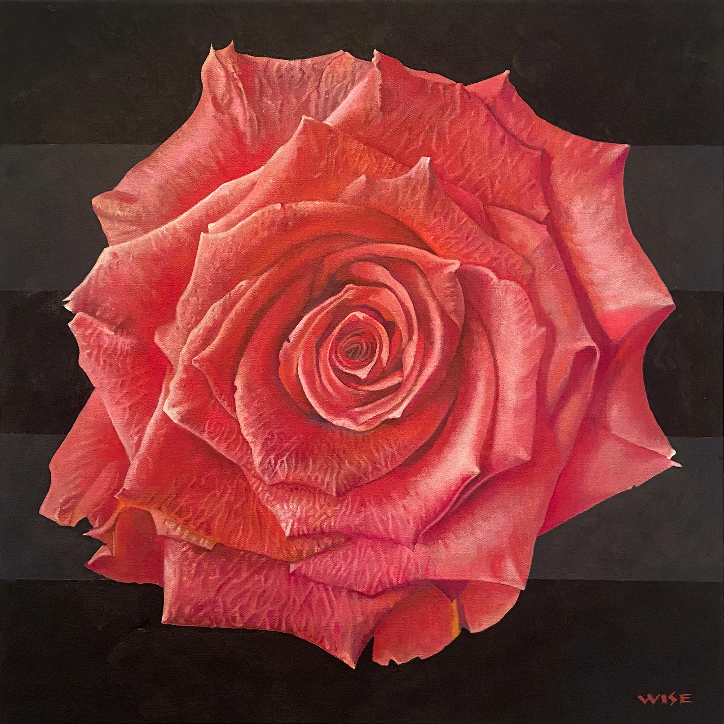 """""""Pink Rose"""" - floral painting - rose still life - Georgia O'Keeffe"""