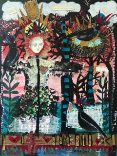 'Silver Queen Scarecrow' - mixed media collage - Southern Art - Marc Chagall