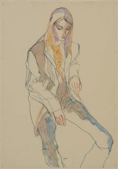 Katya (Sitting in George's Jacket), Mixed media on Pergamenata parchment