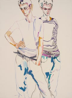 George (Two Figures - Standing, Hand on Hips), Mixed media on Fabriano paper