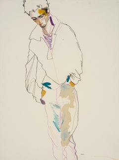 George (Standing - Hands in Pockets), Mixed media on Fabriano paper