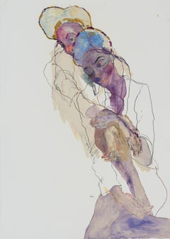 Pamela (Double - Heads and Hands), Mixed media on Fabriano paper