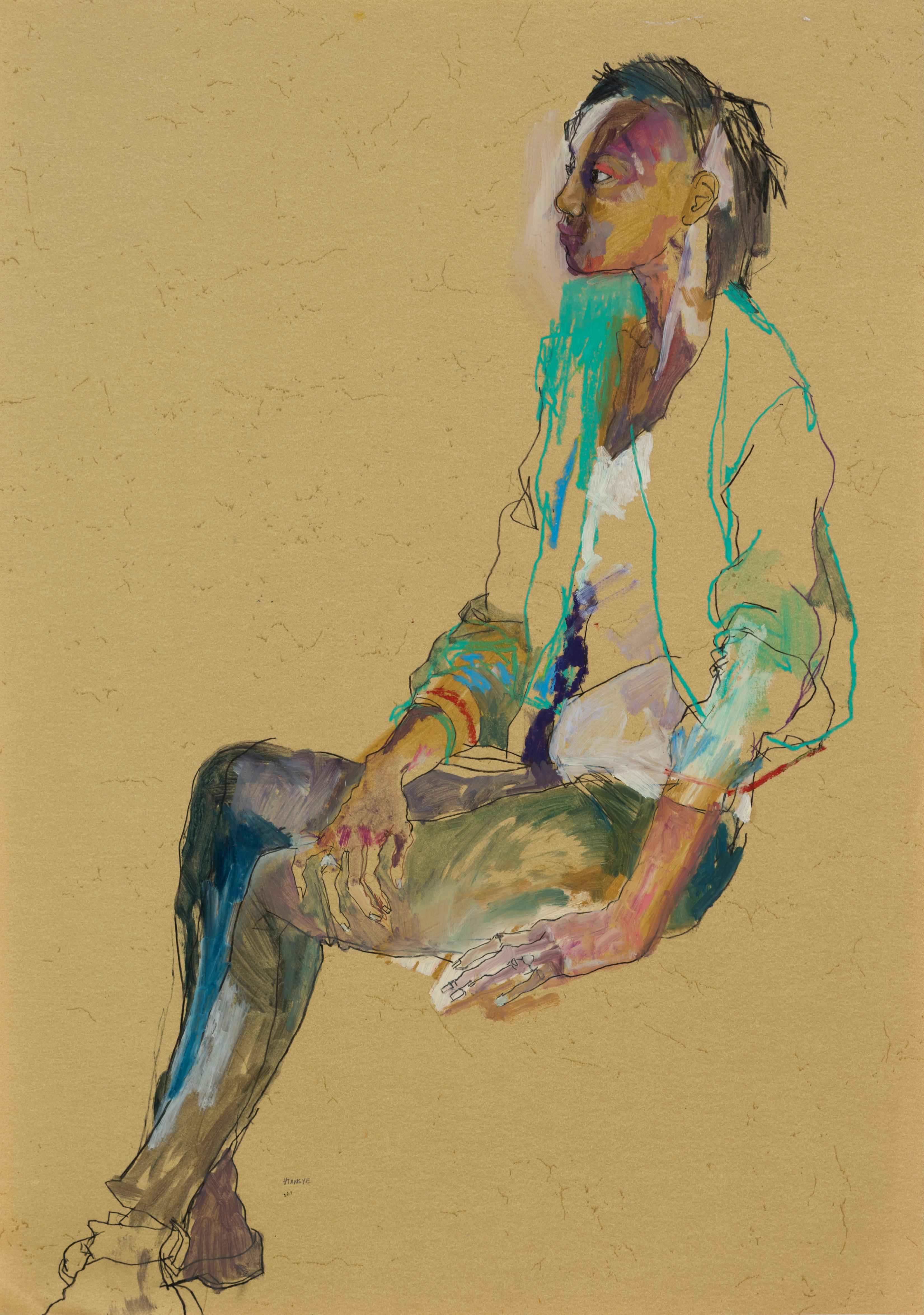 Anji (Sitting, Profile - Green Jacket), Mixed media on ochre paper