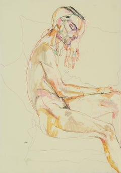 Francesco (Sitting, Profile - Nude), Mixed media on Pergamenata parchment