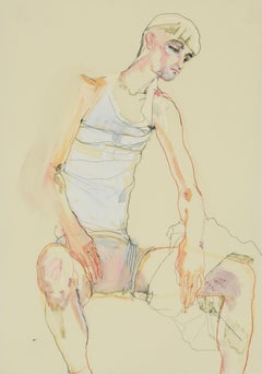 Andrew (Sitting, Hands on Thighs), Mixed media on Pergamenata parchment
