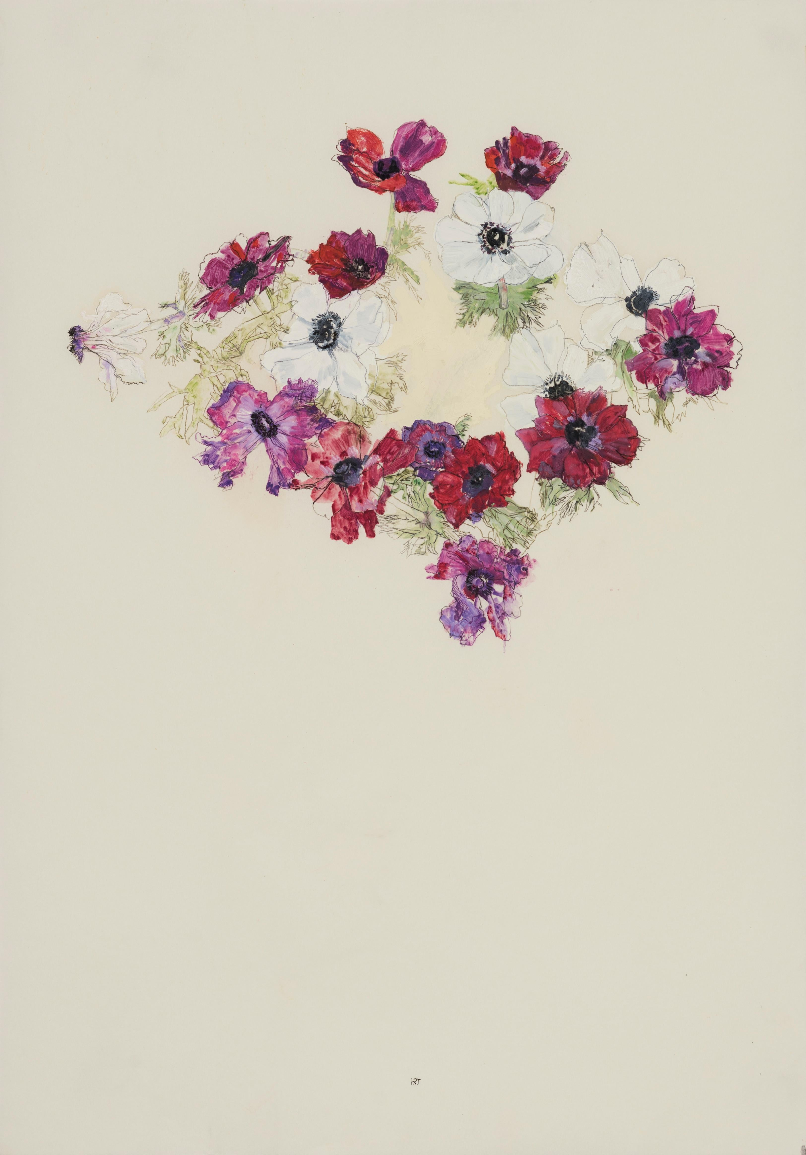 Flower Circle (Anemones), Mixed media on Pergamenata parchment