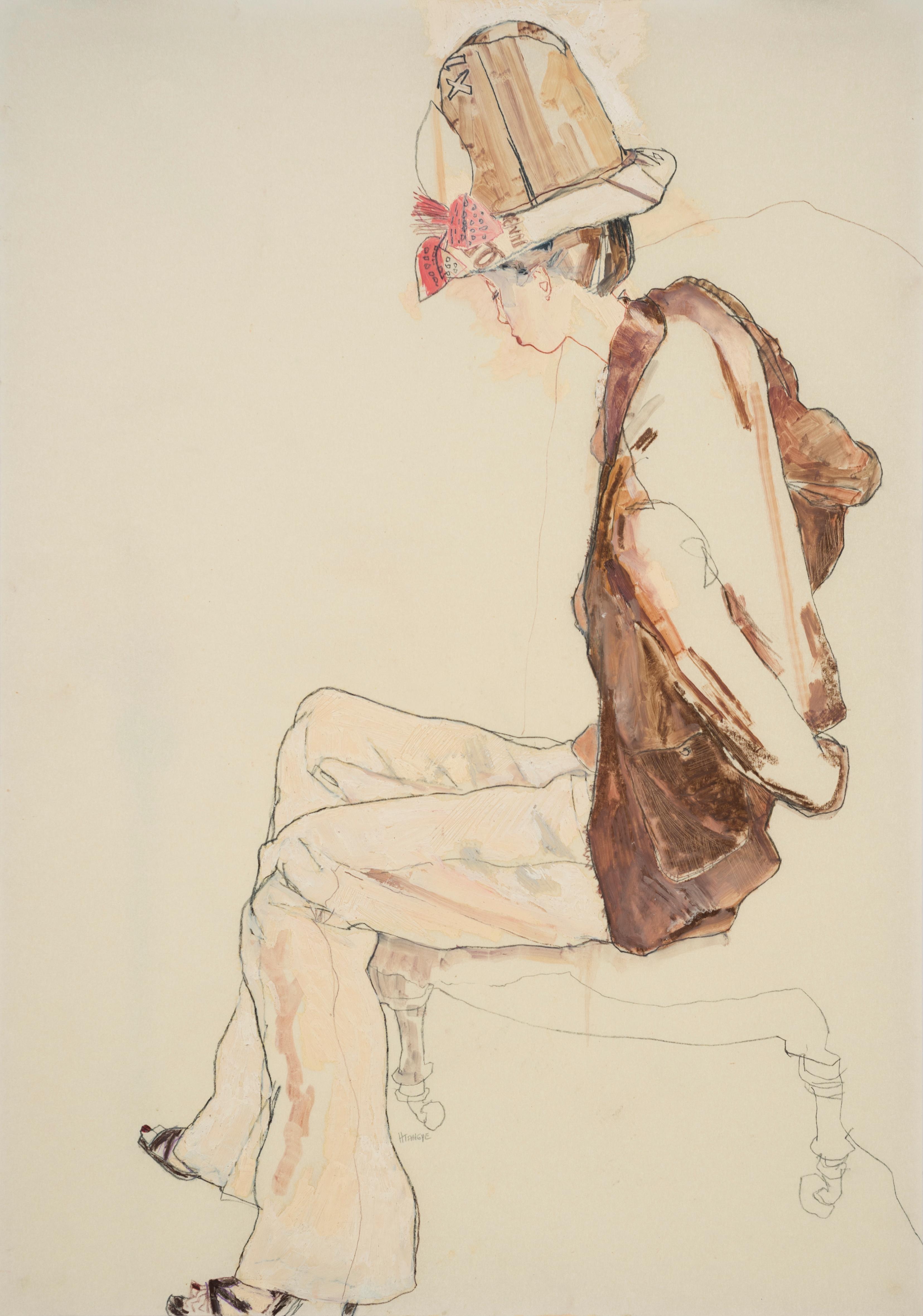 Maria Nishio (Profile - Browns), Mixed media on Pergamenata parchment