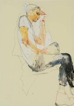 Francesco (Profile - White T-shirt), Mixed media on Pergamenata parchment