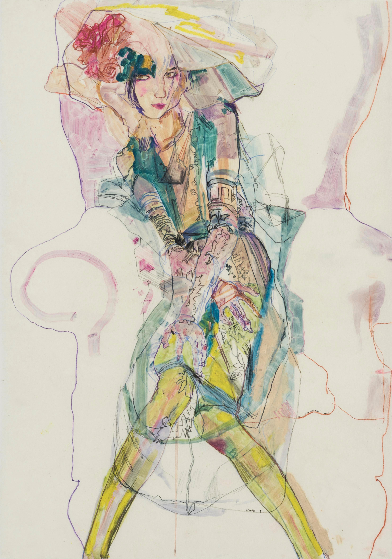 Elodie (Green, Galliano Couture, Paris), Mixed media on Pergamenata parchment