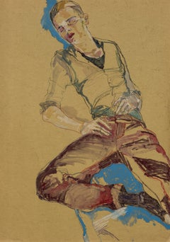 Jake W. (Sleeping, Red & Blue), Mixed media on ochre parchment