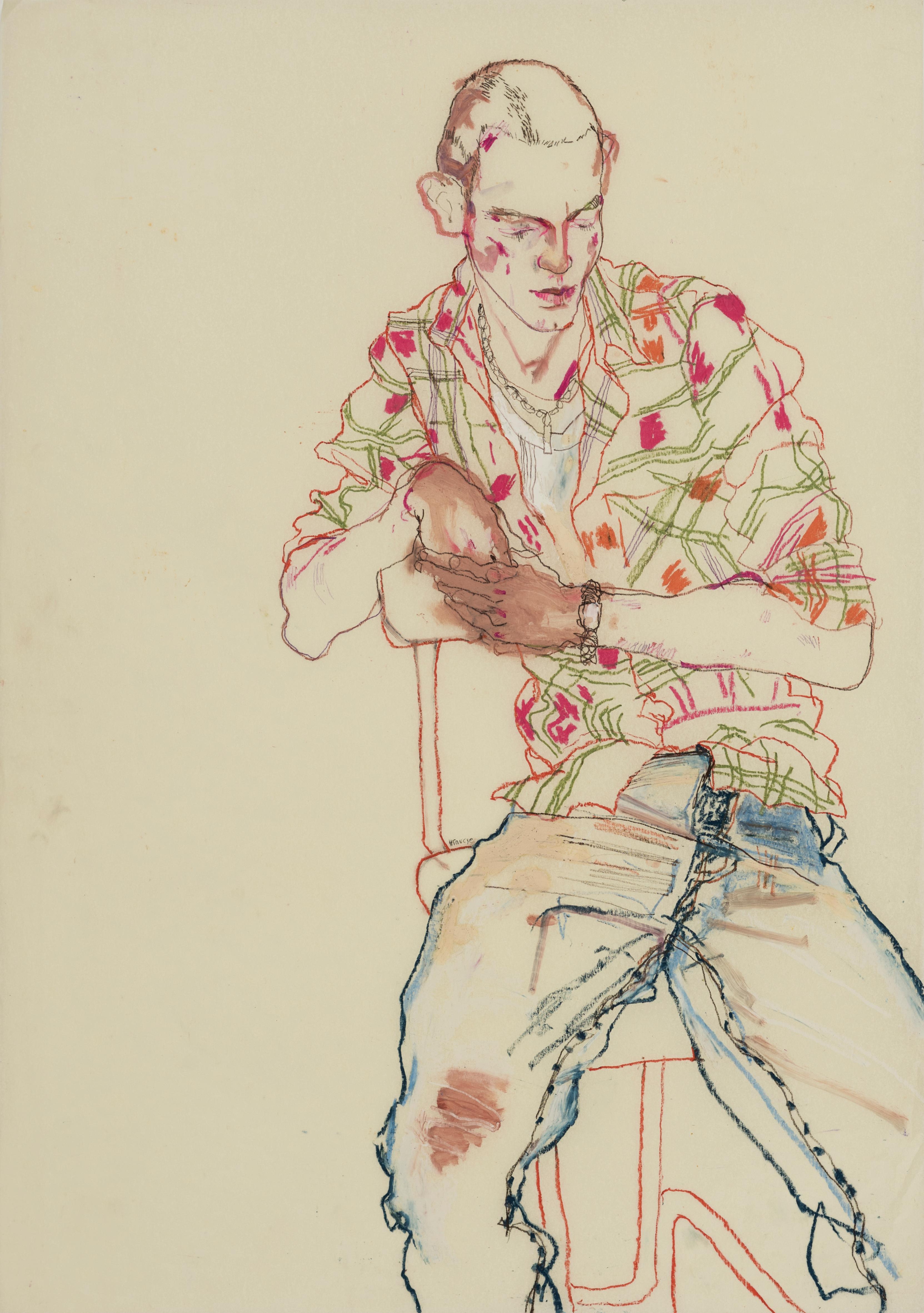 Michele P. (Check Shirt, Blue Jeans), Mixed media on Pergamenata parchment