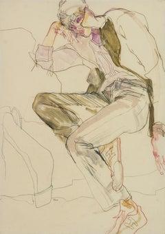 Wes Gordon (Lying Down - Collar Up), Mixed media on Pergamenata parchment