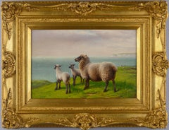 19th Century landscape oil painting of sheep grazing on a clifftop