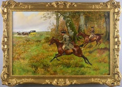 19th Century landscape oil painting of highway men