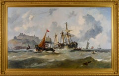 19th Century Marine oil painting of ships off the Dover coast by John Callow