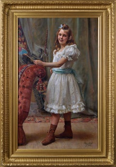 Oil Painting portrait of a young girl (Lucie Halkett - the artist's daughter)