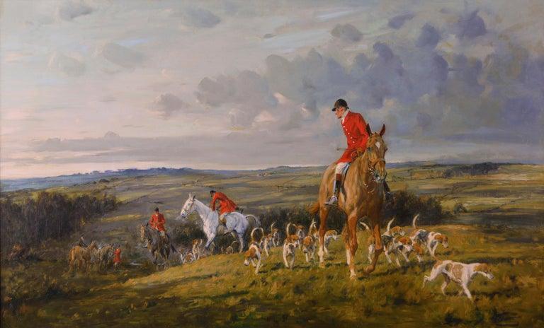 Hunting oil painting of horses with hounds For Sale 1