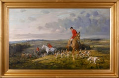 Hunting oil painting of horses with hounds