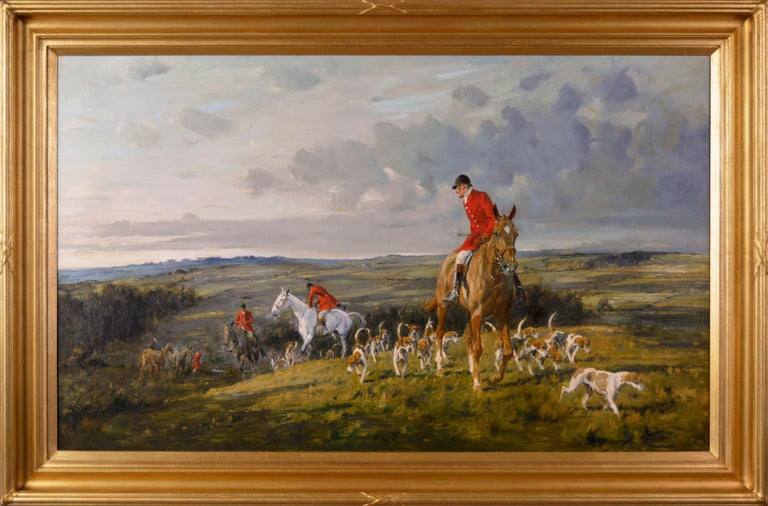 George Wright  British, (1860-1942) Moving On Oil on canvas, signed Image size: 21.5 inches x 35.5 inches  Size including frame: 27 inches x 41 inches  George Wright was a sporting and landscape artist who was born in Leeds in 1860. He was the son