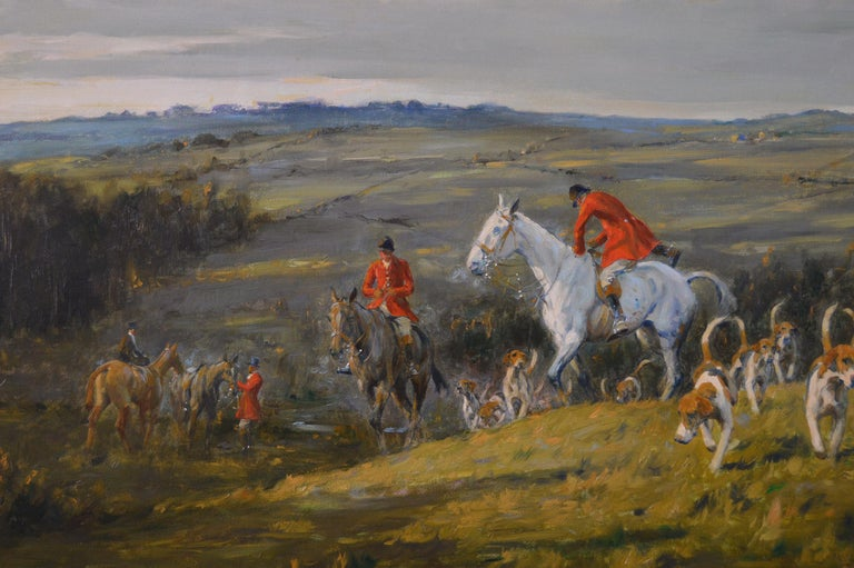 Hunting oil painting of horses with hounds For Sale 3