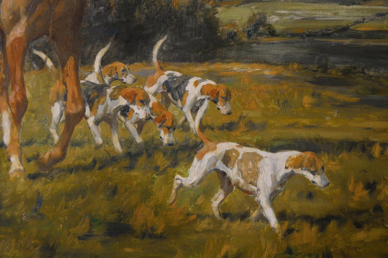 Hunting oil painting of horses with hounds For Sale 4