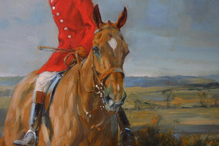 Hunting oil painting of horses with hounds For Sale 5