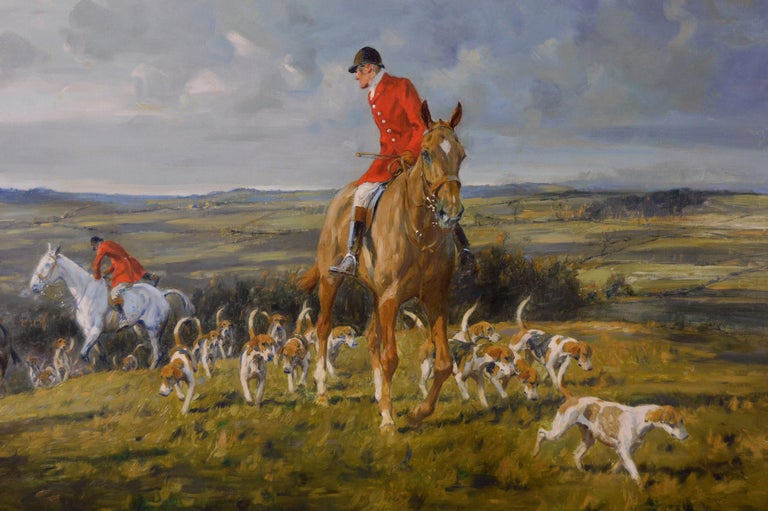 Hunting oil painting of horses with hounds For Sale 2