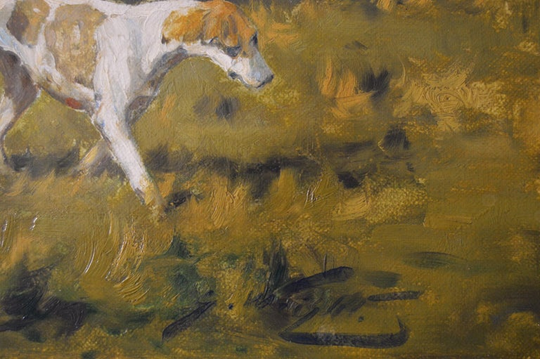 Hunting oil painting of horses with hounds For Sale 6