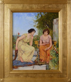 19th Century genre oil painting of two classically dressed women