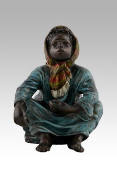 19th Century cold painted Austrian bronze sculpture of an Arab girl