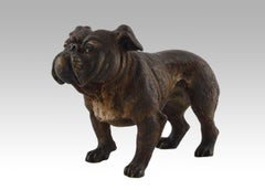 19th Century cold painted Austrian bronze sculpture of a Bulldog
