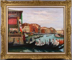 Townscape oil painting of a Gondola race in Venice