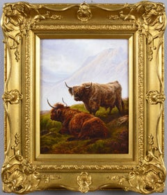 19th Century landscape oil painting of Highland cattle