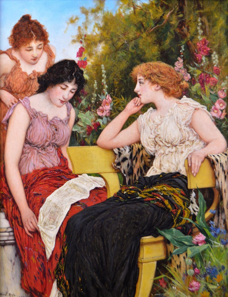 Genre oil painting of three classically dressed women in a garden - Painting by Oliver Rhys