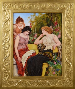 Genre oil painting of three classically dressed women in a garden