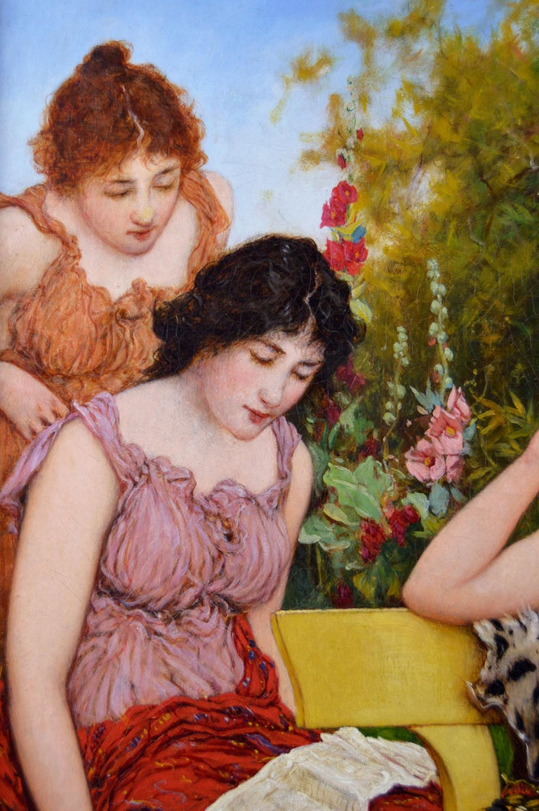 Genre oil painting of three classically dressed women in a garden - Brown Figurative Painting by Oliver Rhys