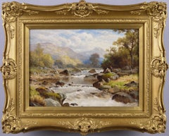 19th Century river landscape oil painting of North Wales