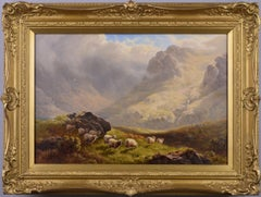 19th Century Highland landscape oil painting with sheep