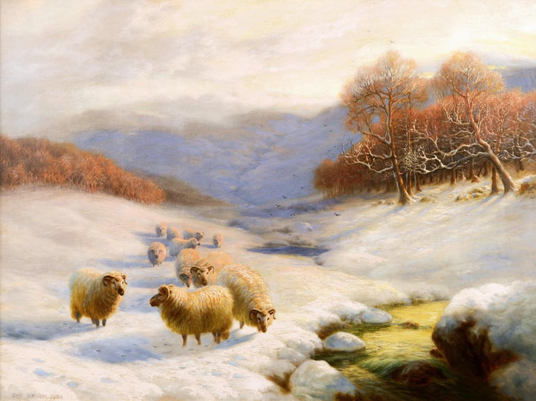 Scottish winter landscape oil painting with sheep  - Painting by Sydney Arthur Watson