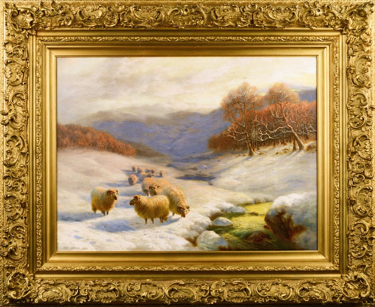 Sydney Arthur Watson Animal Painting - Scottish winter landscape oil painting with sheep