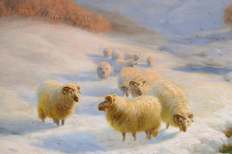 Scottish winter landscape oil painting with sheep  - Victorian Painting by Sydney Arthur Watson