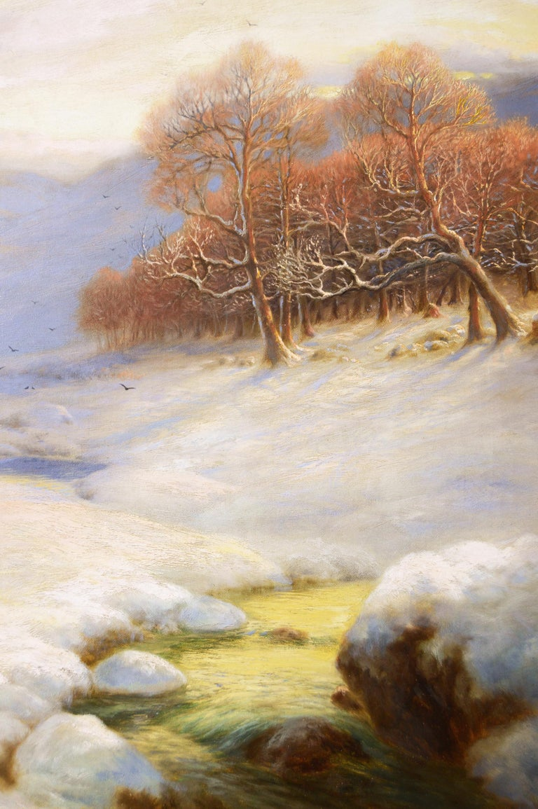 Scottish winter landscape oil painting with sheep  - Brown Animal Painting by Sydney Arthur Watson