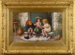 19th Century genre oil painting of three children